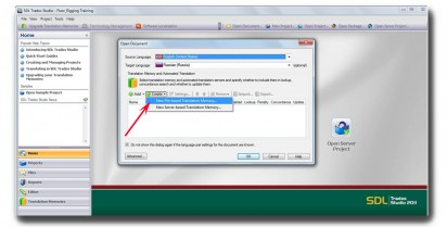 How to import TMX into SDL Studio 2011 translation memory